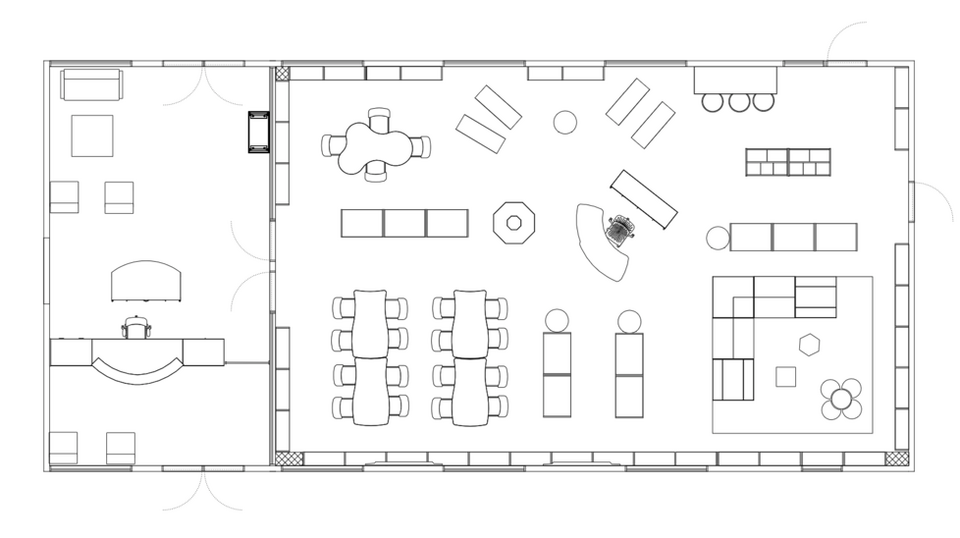 2D line art of media center and reception area