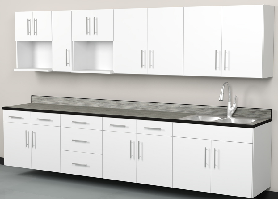 Take5 Breakroom Set A White Laminate Cabinets Grey Countertop